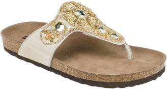 White Mountain Suede Leather Thong Sandals - Hanleigh