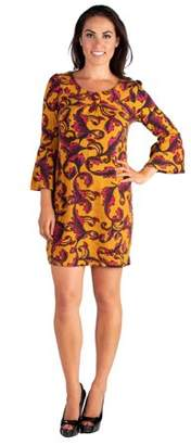 24seven Comfort Apparel Colors Of Fall Print Long Sleeve Mini Sweater Dress