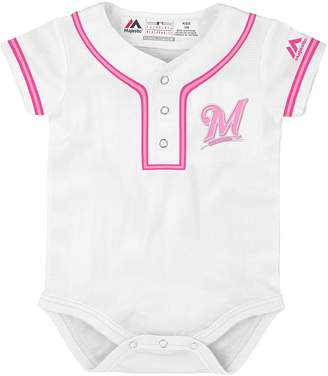 Majestic Baby Milwaukee Brewers Cool Base Replica Jersey Bodysuit
