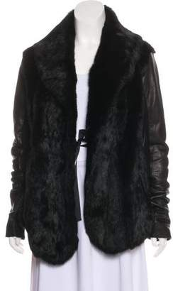 Veda Fur Leather-Accented Coat