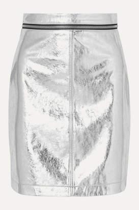 Philosophy di Lorenzo Serafini Zip-embellished Metallic Faux Leather Mini Skirt - Silver