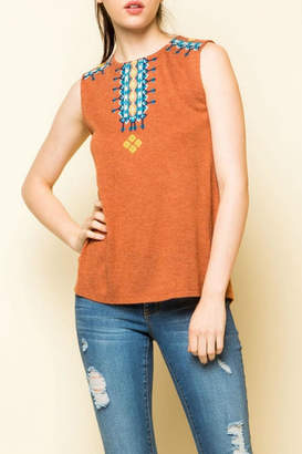 THML Clothing Sleeveless Embroidered Knit