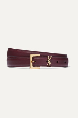 Saint Laurent Embellished Textured-leather Belt - Burgundy
