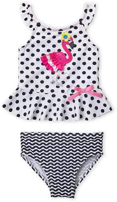 Flapdoodles Infant Girls) Two-Piece Flamingo Polka Dot Swimsuit