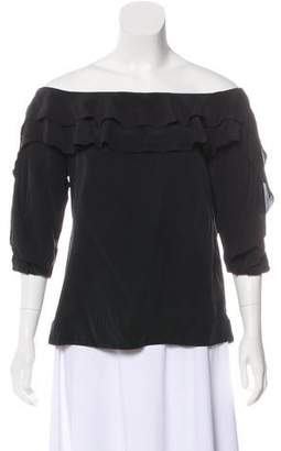 L'Agence Off-The-Shoulder Silk Top
