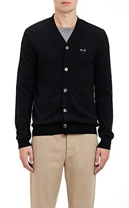 Comme des Garcons Men's Heart Wool V-Neck Cardigan - Black