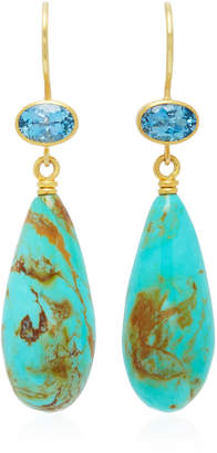 Mallary Marks Apple & Eve 18K Gold Aquamarine and Turquoise Earrings