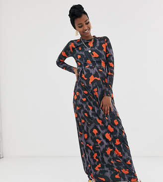 Verona long sleeved jersey maxi dress with pleat in orange leopard print