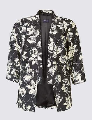 Marks and Spencer CURVE Floral Print 3/4 Sleeve Blazer