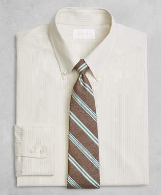 Brooks Brothers Golden Fleece Milano Slim-Fit Dress Shirt, Button-Down Collar Alternating Dot Stripe