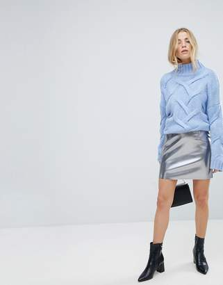Only Leather Look Metallic Mini Skirt