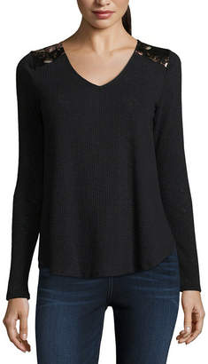 Cut And Paste Long Sleeve V Neck Jersey Blouse-Juniors