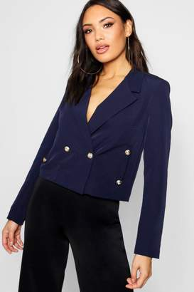 boohoo Double Breasted Military Boxy Cropped Blazer