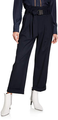 Brunello Cucinelli Monili-Belted Wide-Leg Cuffed Pants