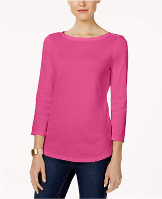 Charter Club Boat-Neck Button-Shoulder Top