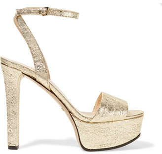 Gucci - Metallic Cracked-leather Platform Sandals - Gold $750 thestylecure.com