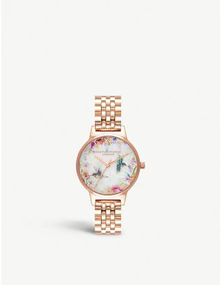 Olivia Burton OB16PP49 rose-gold plated stainless steel watch