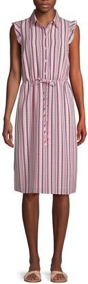 Karl Lagerfeld Paris Striped Self-Tie Midi Dress