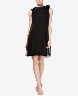 Sl Fashions Rosette-Neck A-Line Dress