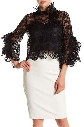 Gracia Bell Sleeve Crochet Lace Mesh Blouse