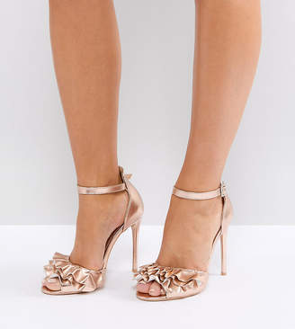 78ff1758770 Lost Ink Wide Fit Rose Gold Ruffle Heeled Sandals