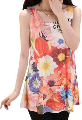 Black Temptation Leisure Vest Polyester Tank Top Loose Condole Belt Show thin(Flowers)