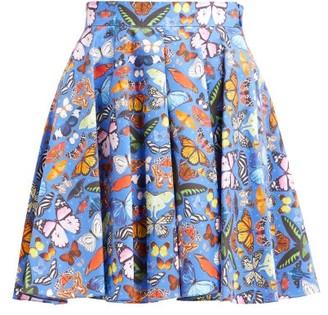 Mary Katrantzou Simona Butterfly Print Cotton Mini Skirt - Womens - Blue Multi