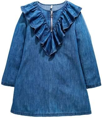 Very Girls Ruffle Zip Denim Dress