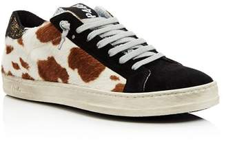 Golden Goose P448 Women's John Fur & Leather Lace-Up Sneakers