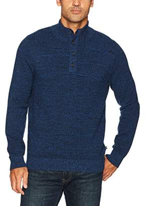 Nautica Men's Long Sleeve Pique Quarter Zip and Button Closure Sweater