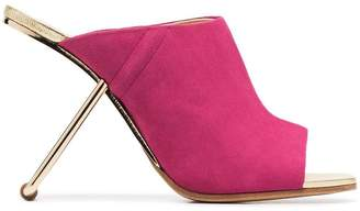 Poiret pink 100 suede and metal cutout heel mules