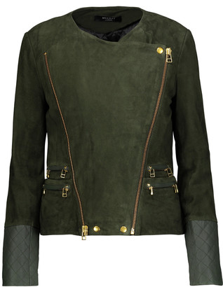 Muubaa Gloster leather-trimmed suede biker jacket $544.50 thestylecure.com