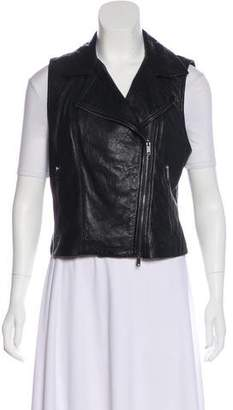 DKNY Leather Moto Vest