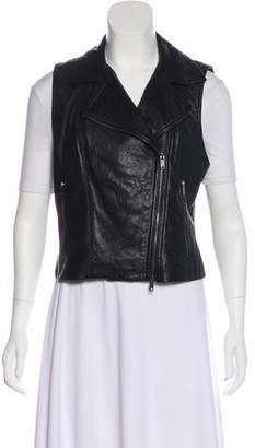 DKNY Leather Moto Vest