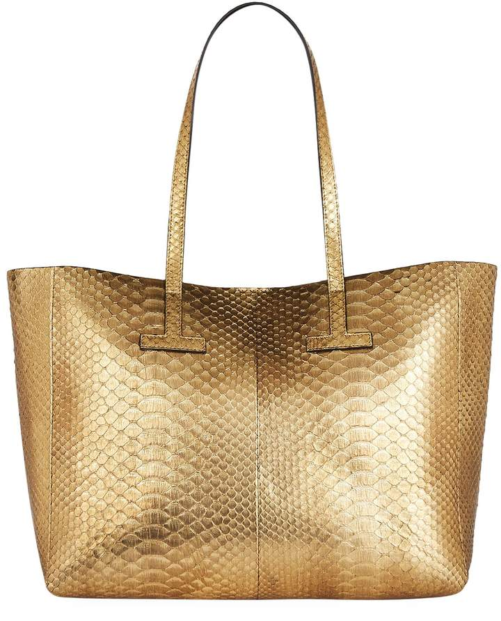 TOM FORD Medium Python T Tote Bag, Gold, One Size