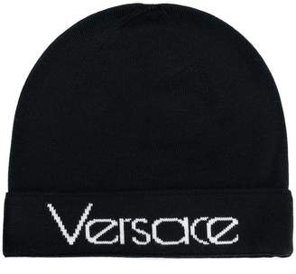 Versace logo knitted beanie