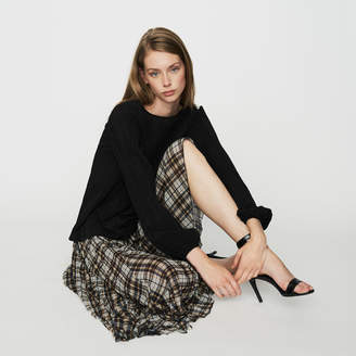 Maje Pleated plaid asymmetric skirt