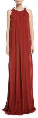 Rosetta Getty Halter Tie-Neck Crepe Jersey Maxi Dress w/ Leather Trim