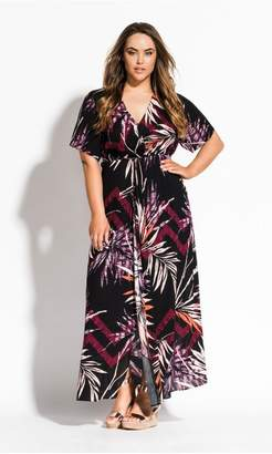 City Chic Citychic Bahama Short Sleeve Maxi Dress - black