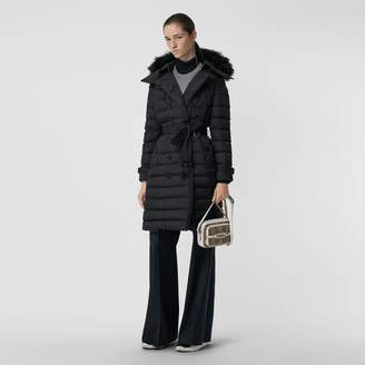 Burberry Detachable Hood Down-filled Puffer Coat , Size: S, Black