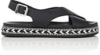 Barneys New York Women's Crisscross-Strap Leather Espadrille Sandals - Black