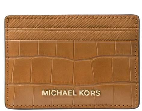 Michael Kors Money Pieces Crocodile-effect Leather - Card Holder - Acorn - 32F7GF6D0E-532 - ONE COLOR - STYLE