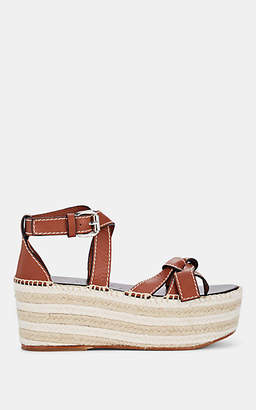 Loewe Women's Leather Platform Espadrille Sandals - Rust Red