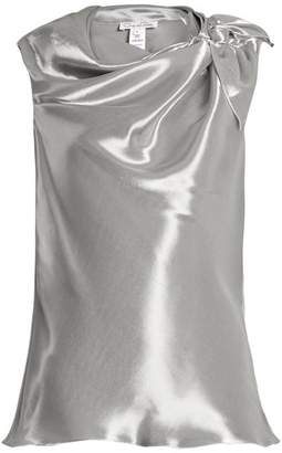 Oscar de la Renta Cowl Neck Sleeveless Top - Womens - Silver