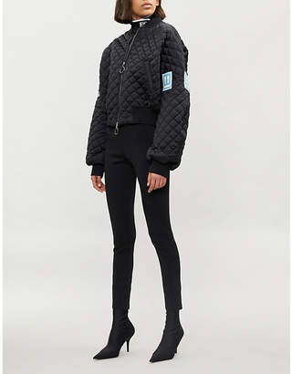 Off-White Contrast-patch quilted bomber jacket