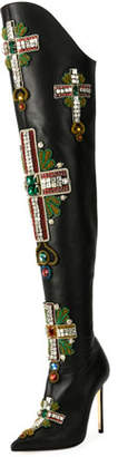 Versace Over-The-Knee Embellished Cross Boot