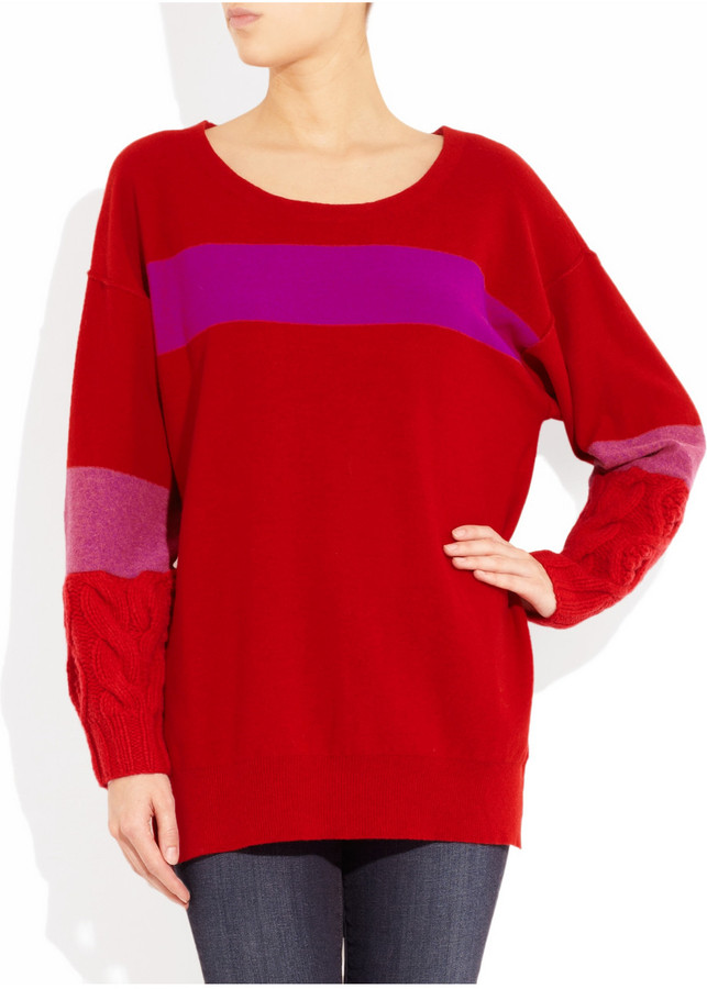 Sonia Rykiel Sonia by Chunky-knit paneled wool and cashmere-blend sweater