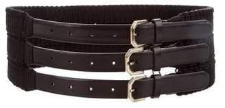 Gianfranco Ferre Leather-Trimmed Waist Belt w/ Tags