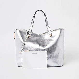 River Island Silver metallic reversible beach tote bag