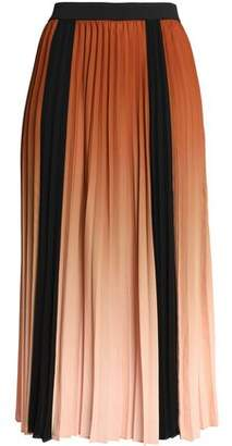 Maje Pleated Dégradé Crepe Midi Skirt